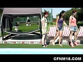 Teen orgy pool - Wild cfnm orgy by the pool with seven teenagers