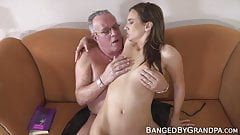 Ugly and fat grandpa fucks tight and beautiful babe doggy