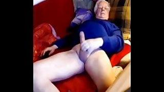 Silver senior euro step dad wanks his big cock on cam