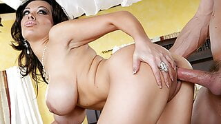 MILF Sienna West Rides Cock And He Jerks Off On Her Tits