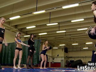 Unusual bondage Unusual all-girl training