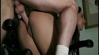 Olive skinned babe with her round ass rides a hard cock