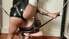 Bound and gagged sissy pegged