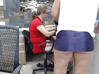 Hot milf high heels office grayvee Short skirt in the office 10