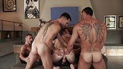 Bareback guy pile