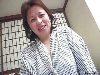 Asian hairy granny Asian granny enjoys threesome fucking