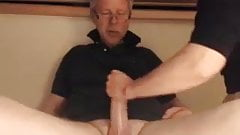 Fat cock daddy gets a handjob from wife