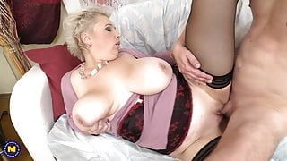 Mature moms suck and fuck young boys