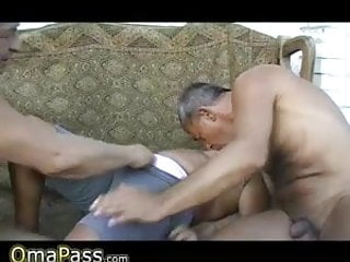 Gay grandpas mature Two grandpas fucking bbw granny in her hairy pussy and mouth