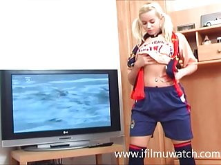 Reality television nude pics Norwegian teen masturbating in front of the television.