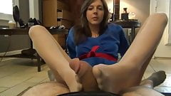 Karate Girl gives a Pantyhose Footjob