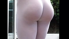 Seamless white pantyhose ass.