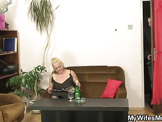 Hairy old women naked - Hairy pussy mother inlaw gets naked then rides cock