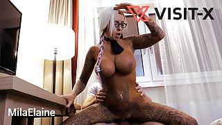VISIT-X German Blonde Big Tit Tattoo Student fucks Tutor