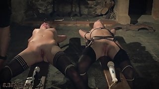 Kinky sex game and bondage sex for two slaves ready to fuck