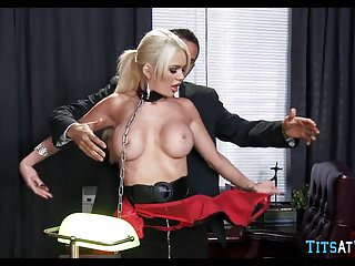 Big tits at work secretary - Collared blonde sex toy at work
