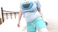Cuvy teen takes off her cookie monster shirt to show-off her massive tits
