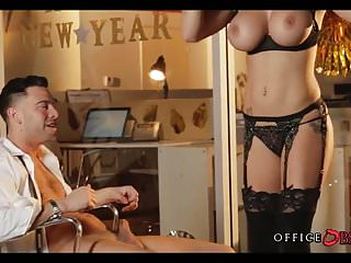 Horny babes fucked - Big tit coworker fucks at office party