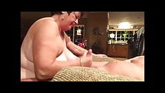 Big granny blowjob, handjob, cum in mouth and swallowing