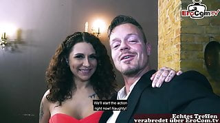 REAL ONLINE SEXDATE - German couple on romantic date – big tits