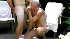 Old men playing a with men