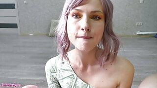 Hot Girlfriend Sucking Dick and Swallowing Cum