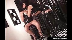 RubberDoll Pleasures GF With Spiky Black & White Vibrator!