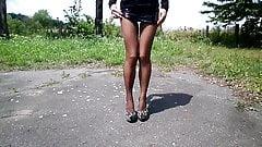 Legs! Tights! Heels! Mini skirt!