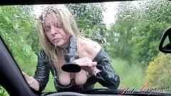 Slut-Orgasma Celeste dildo deep throat on a rainy day on car