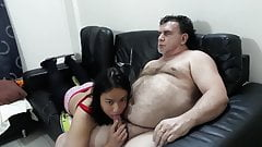 Asian Ladyboy with a non too fat guy