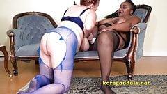Busty black Mistress serviced by floppy tits white bitch