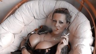 Hot Tattoed Cougar Smoking and Playing (Recolored)