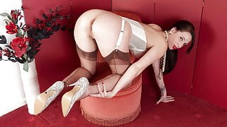 Leggy Tammie Lee finger bangs in sheer nylons and retro corset