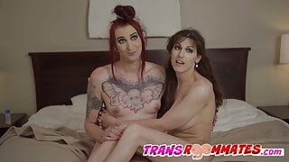 Lingerie Trans Roommates Spend Time With Bareback Creampie