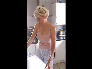 Just nipples fuck - Hubbys just left so cheating wife flashes tits for neighbor