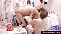 Busty curvy lesbian girls fuck in bathroom