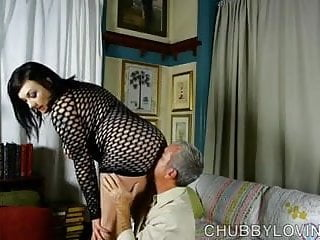 Fishnet tits Super sexy fatty in fishnet bodysuit gets blasted with cum