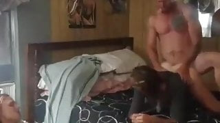 Guy bangs friend in front of wife