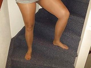 Pierced upskirt Alyshas creamie pierced pussy upskirt in tan pantyhose