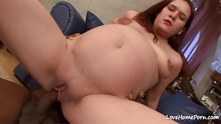 Pregnant bombshell is happily riding his hard bbc.mp4
