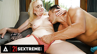Muscular Dude Fills Granny's Mouth With Cum