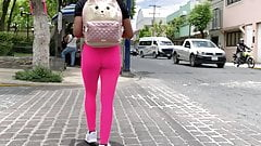 Teen Pink Leggings . Spandex Ass Walking 1
