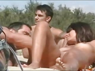 Ercetion on nude beach - Couple teasing on nude beach