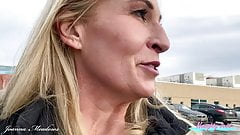 Hot Blonde MILF Takes Advantage of Parking Garage to take a piss