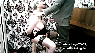 Training naughty MILF. START-STOP show, real orgasm control!