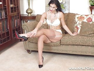 Busty babe lingerie Busty babe strips off lingerie to wank in retro nylons heels