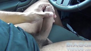 Thick cock and huge balls jerking off twice outdoor