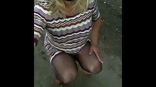 Crossdresser outdoor  horny wank in pantyhose