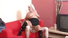 Blond granny having fun