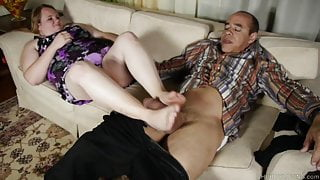 Sexy BBW foot fetish, fucking then a tasty facial cusmhot